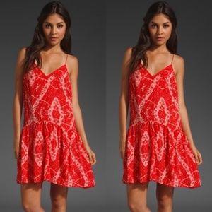 Rebecca Taylor Ikat Silk Patterned Monochrome Dres